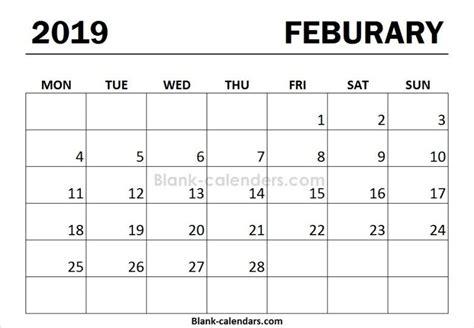 print calendar  february monday start calendar