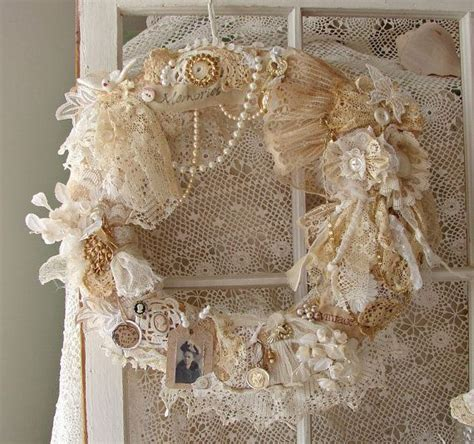 lace crafts projects best 25 shabby chic wreath ideas on paper