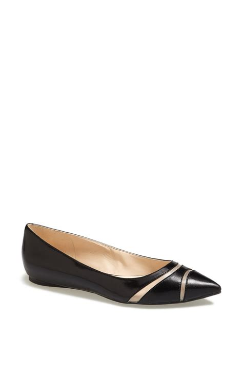 flat pointy black shoes nine west auro pointy toe flat in black black leather lyst