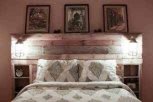 Headboard With Shelf Pallet Headboard With Shelves Recycled Things