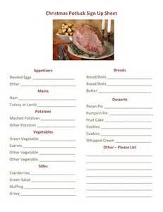 Christmas potluck signup printable