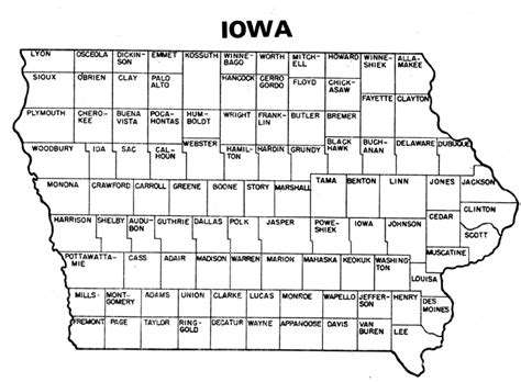 printable map iowa iowa counties with names
