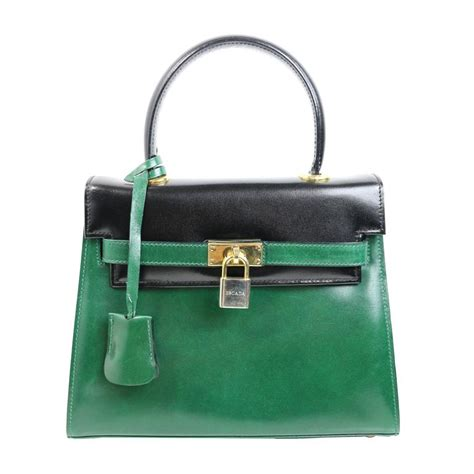 one of a leather handbags escada green black patent leather handbag for sale at 1stdibs