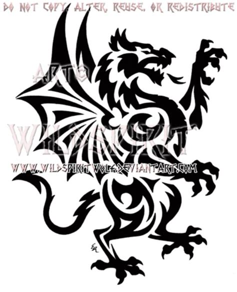 welsh dragon tattoo designs rant tribal design by wildspiritwolf on