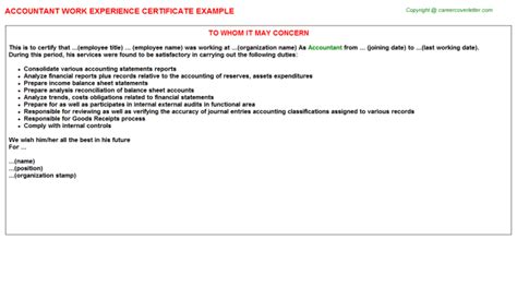 Work Experience Letter Of Accountant Accountant Work Experience Certificates