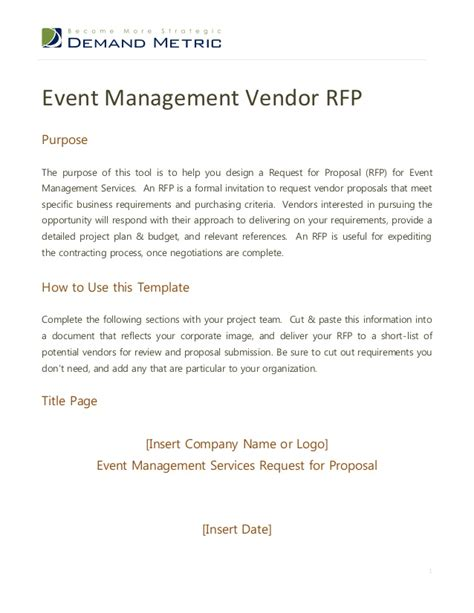 vendor rfp template event management rfp template