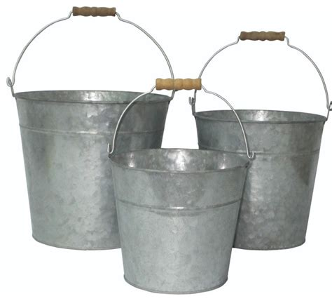 Round Wood Dining Room Tables cheungs vintage set of 3 galvanized metal bucket with