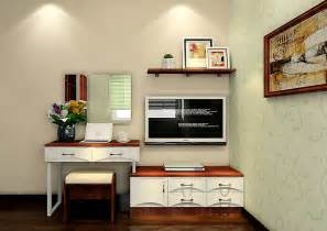 Bedroom tv cabinet and desk with pale green wall 3d house