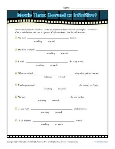 movie time gerund or infinitive verbal worksheets