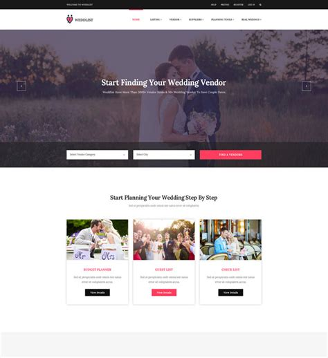 10 Best Responsive Website Templates For Wedding And Wedding Planner 2018 Designmaz Vendor Website Template