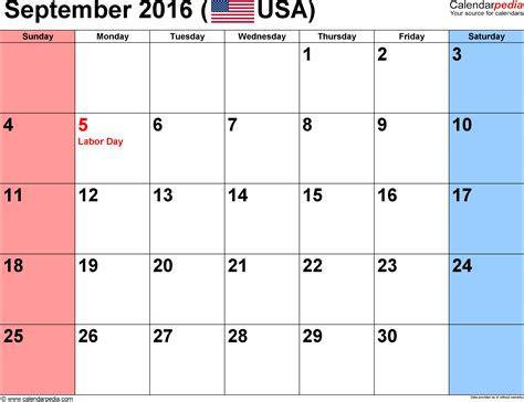 Calendar 2016 September September 2016 Calendars For Word Excel Pdf