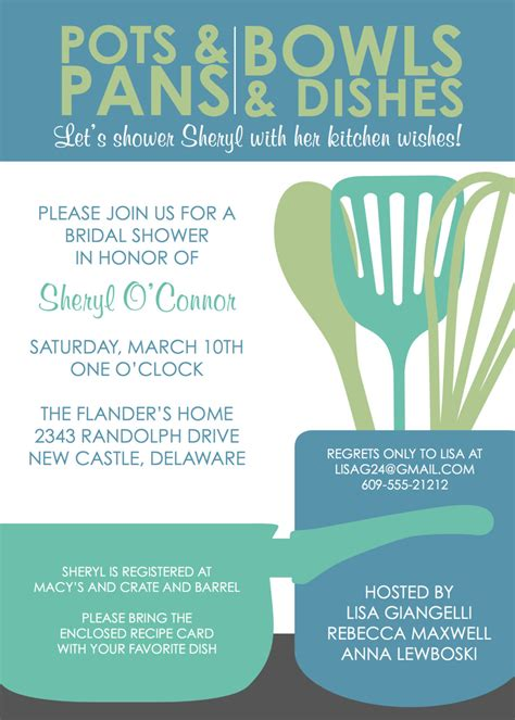 Kitchen Party Invitation Cards Templates