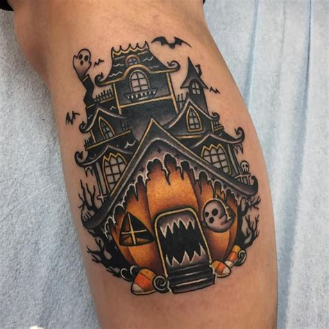 house tattoo obsessing this spooky pumpkin haunted house