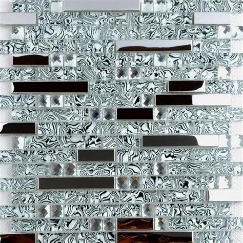 glass and metal backsplash tiles for kitchen and bathroom