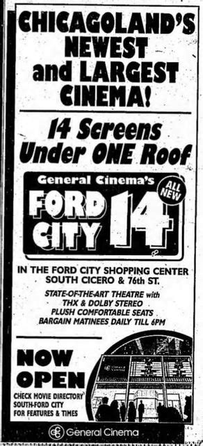 ford city 14 august 10th 1990 grand opening ad for the ford city 14