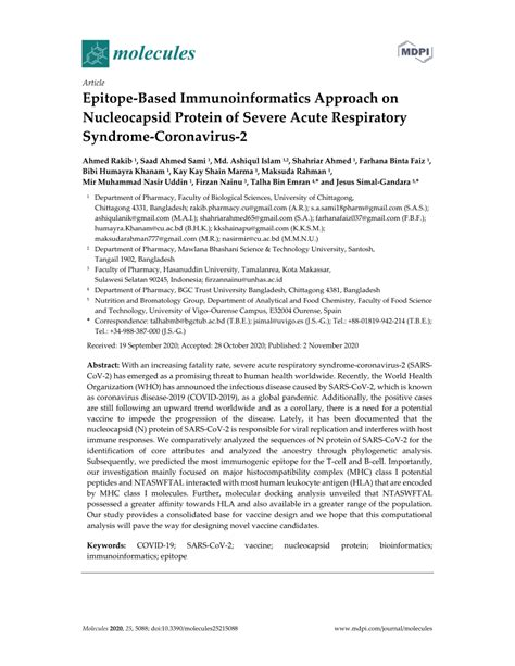 (PDF) Epitope-Based Immunoinformatics Approach on