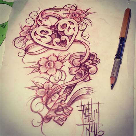 heart locket and key tattoo designs locket with a key my sketches
