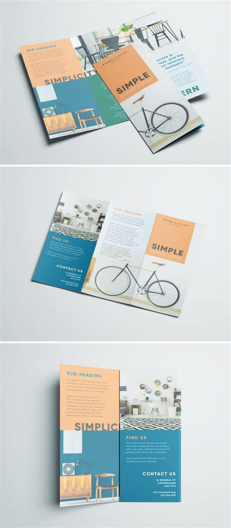 Simple Tri Fold Brochure Free Indesign Template Brochure Design Templates Free