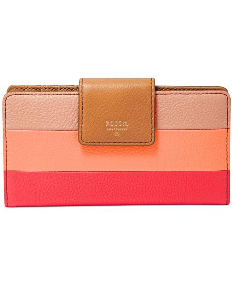 Patchwork Wallet - fossil sydney leather patchwork tab wallet in pink pink