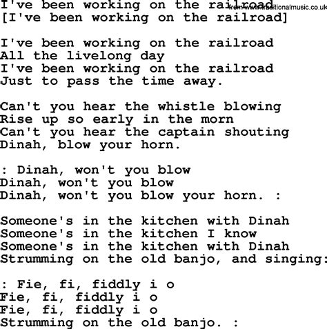 Printable Lyrics To I Ve Been Working On The Railroad | old american song lyrics for i ve been working on the