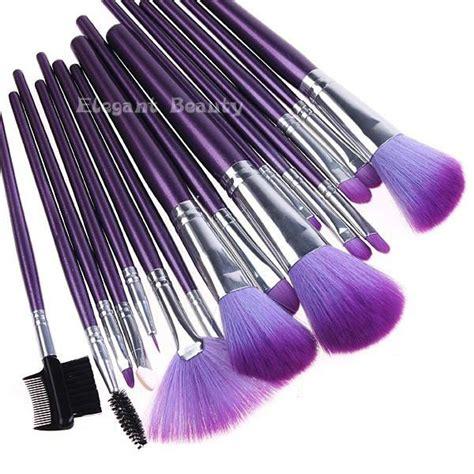 brush set purple quality 16pcs goat hair professional makeup