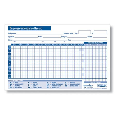 Attendance History Card Free Template by 24 Best Sles Of Attendance Sheet For Employees Thogati