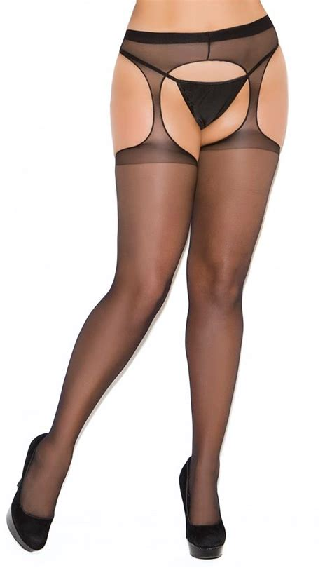 Crotchless Tights moments sheer suspender crotchless