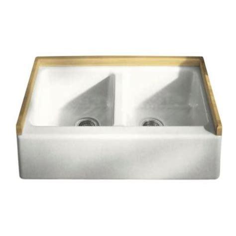 33x22 kitchen sink kohler hawthorne apron front undermount cast iron 33x22