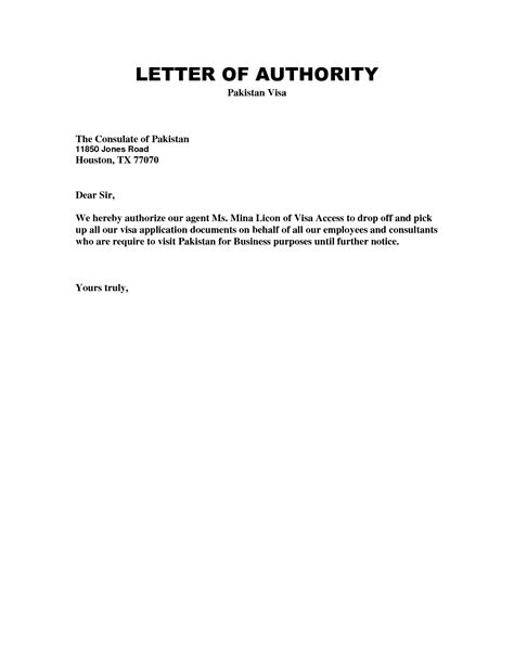 Authorization Letter Pattern Sle Authorization Letter To Receive Visa Authorization Letter To Sell Property Sle