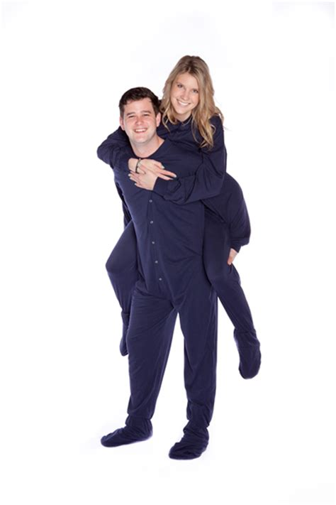 knitted onesie for adults jersey knit footed pajamas in navy blue onesies for