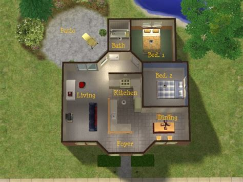 starter home floor plans mod the sims brick 2 bedroom starter home no cc