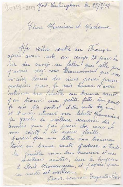 Offizieller Brief Frankreich Menschen In Mehrow Felix Carpentier Kriegsgefangener In Mehrow