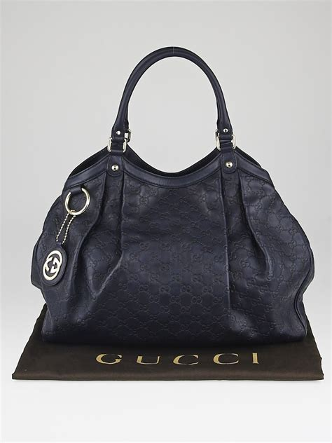 Gucci Ns Leather Blue gucci navy blue guccissima leather large sukey tote bag yoogi s closet