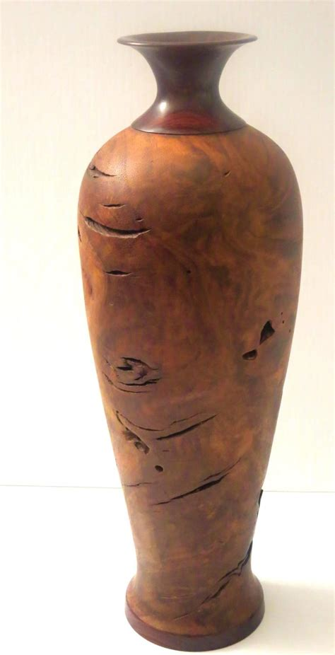 Turned Vase by Walnut Burl Wood And Rosewood Turned Wood Vase