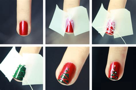tutorial nail art natal diy christmas nail art design best simple home manicure