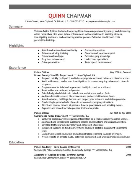 best police officer resume exle livecareer