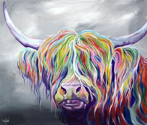 colorful cow painting rainbow coo painting by aaron de la haye
