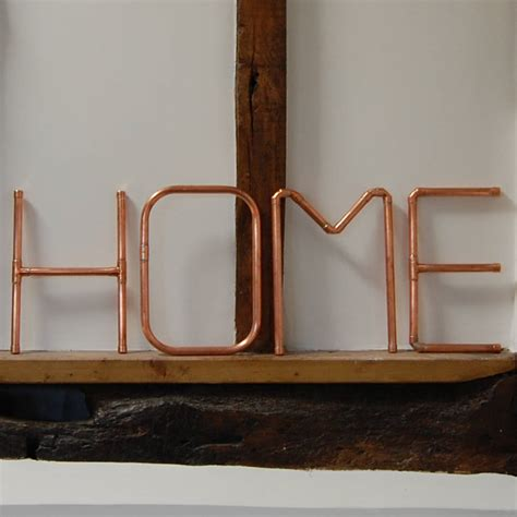 copper pipe home wall letters by copper