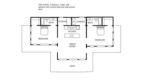 split floor plan house plans the aloha 2 2 split bedroom floor plan