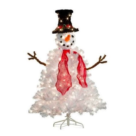 4 ft snowman christmas tree welcome the chilly weather with our pre lit snowman tree a 5 foot faux pine sculpture with