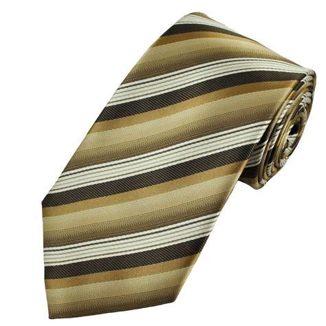 shades of brown gold ivory stripe patterned s tie