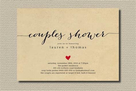 couples bridal shower simple wedding shower invitation couples with