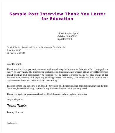 thank you letter after learner thank you letter 9 free sle exle format