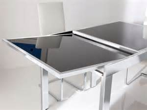 Matrix black glass extending dining table dining tables from fads
