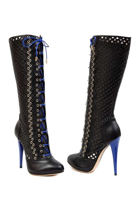 versace boots for new versace black perforated leather platform boots for