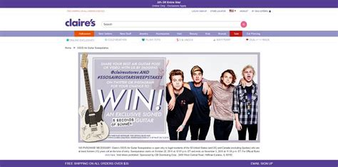 Instrument Sweepstakes - claire s 5sos air guitar sweepstakes claires com 5sos