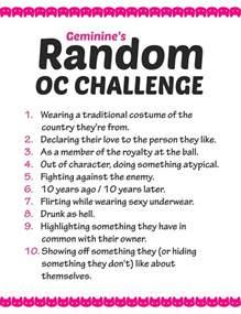 random oc challenge list by geminine nyan on deviantart