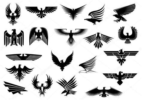 heraldic eagles falcons and hawks set stock vector