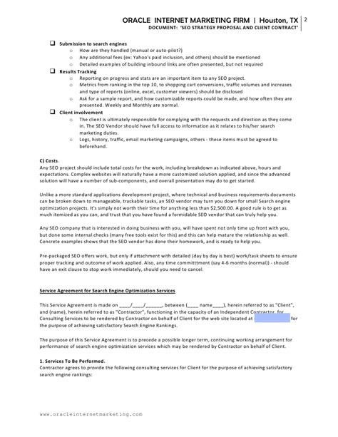 Search Services Service Agreement For Search Engine