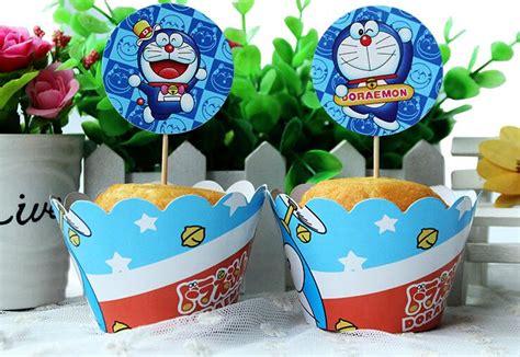 Topper Cake Doraemoncake Topper Doraemonhiasan Cupcake doraemon cupcake wrappers decoration birthday favors for cup cake toppers picks